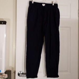 J. Crew navy linen drawstring cuffed pants 6